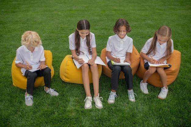 Studiando. alunni seduti su sedie a sacco e prendere appunti