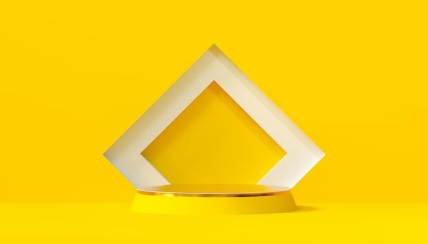 Studio minimal con piedistallo tondo su sfondo giallo