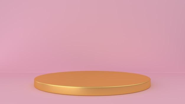 Studio rosa e sfondo piedistallo. piattaforma per l'esposizione di prodotti di bellezza.