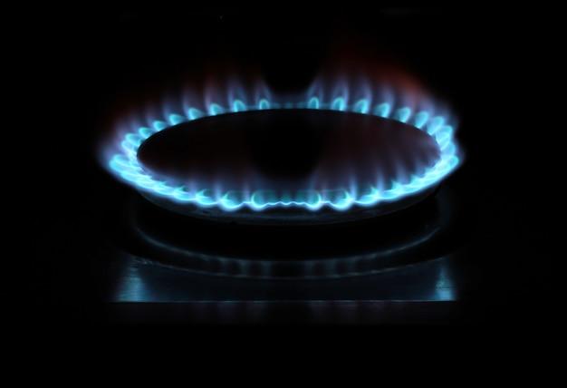 Stufa a gas accesa