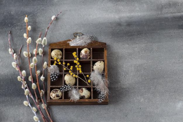 Su una scatola di fondo grigio scuro con uova di quaglia, piume e salice