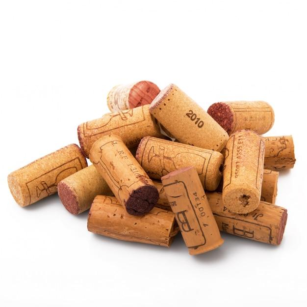 Sughero del vino su bianco