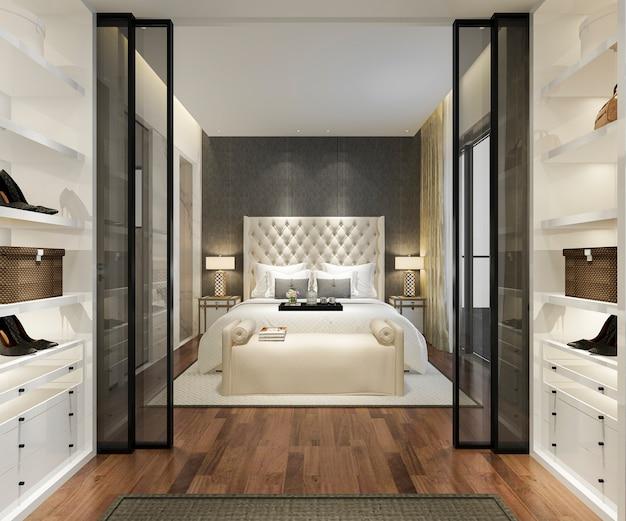 Suite di camera da letto moderna di lusso di rendering 3d con armadio e cabina armadio