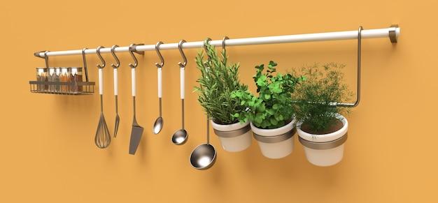 Sul muro sono appesi utensili da cucina, rinfuse secche e condimenti vivi in vaso