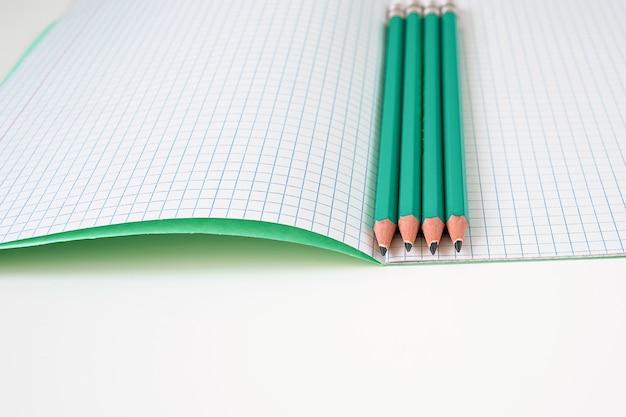 Sul tavolo c'è un quaderno aperto in una gabbia.