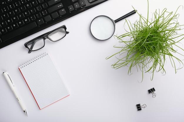 Superficie bianca del tavolo con tastiera, occhiali, lente d'ingrandimento, quaderno, clip, pianta da ufficio e penna.