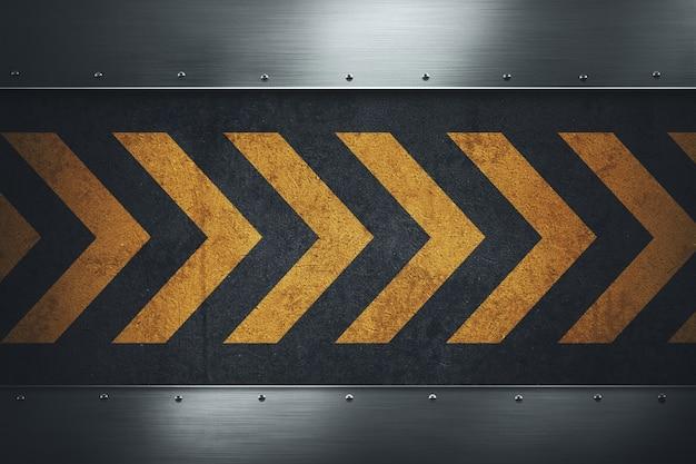 Superficie di asfalto sporco grungy nero con strisce di avvertimento giallo.