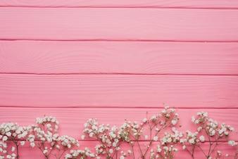Superficie di legno di colore rosa con ramoscelli decorativi