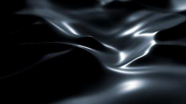 Superficie scura con riflessi. sfondo liscio onde minimali nere. onde di seta sfocate. flusso minimo di increspature in scala di grigi.