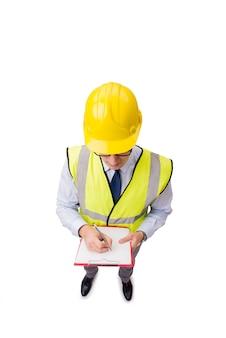 Supervisore della costruzione isolato sui precedenti bianchi