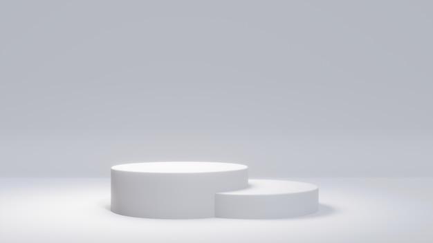 Supporto del prodotto bianco su fondo bianco. concetto astratto geometria minima.