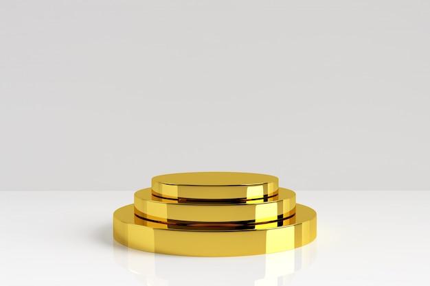 Supporto dorato del prodotto di tre strati su fondo bianco. piedistallo d'oro con riflesso e ombra sul pavimento