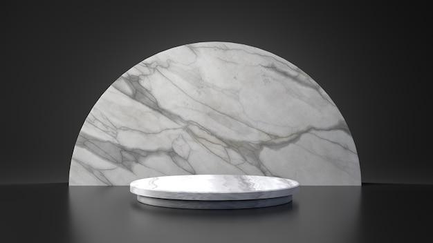 Supporto in marmo bianco mezzaluna cerchio prodotto su sfondo nero. concetto astratto geometria minima