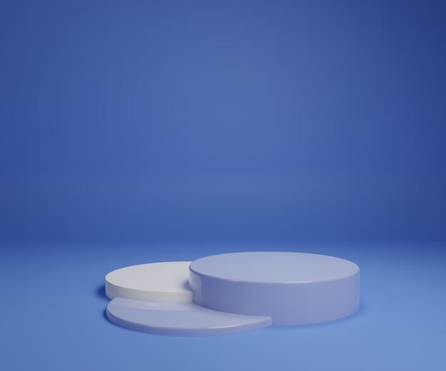 Supporto pastello blu bianco del prodotto su fondo