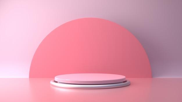 Supporto pastello rosa del prodotto su fondo. concetto astratto geometria minima.