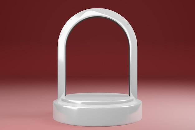 Supporto per prodotto a cupola ad arco vuoto, piedistallo, vetrina, struttura in vetro bianco, rendering 3d.