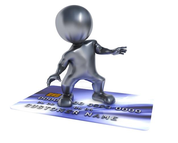 Surf persona sopra una carta di credito