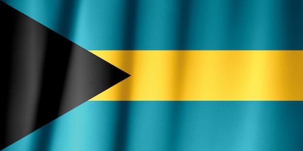 Sventolando la bandiera di bahama. la bandiera ha una vera trama del tessuto.