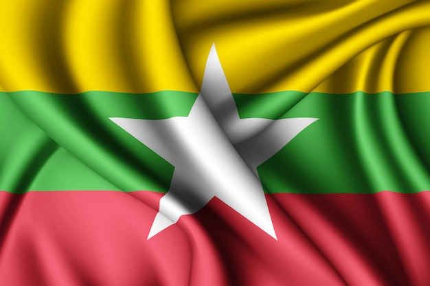 Sventolando la bandiera di seta del myanmar