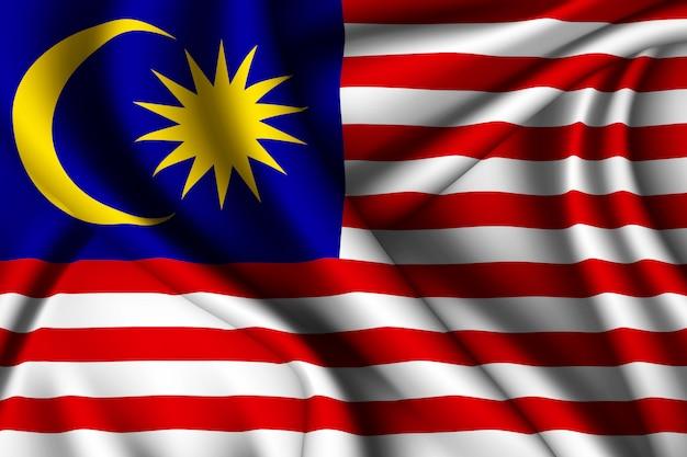 Sventolando la bandiera di seta della malesia