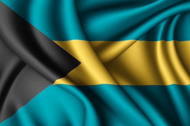 Sventolando la bandiera di seta delle bahamas