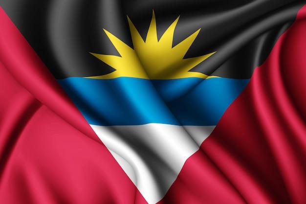 Sventolando la bandiera di seta di antigua e barbuda