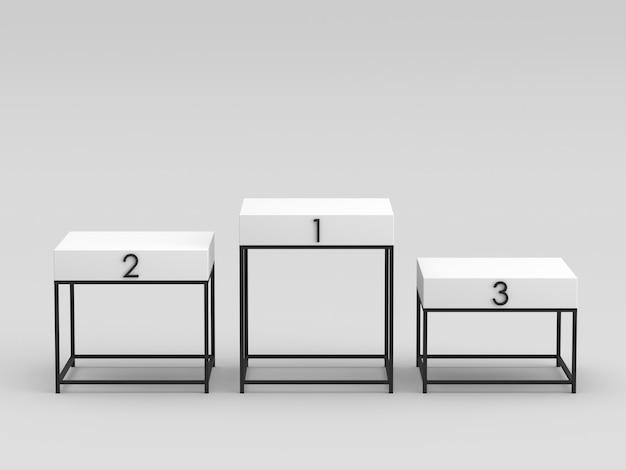 Svuotare il podio bianco superiore con supporto per struttura in metallo