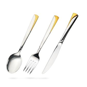 Svuoti il cucchiaio da tavola d'acciaio, la forchetta, coltello iisolated su bianco