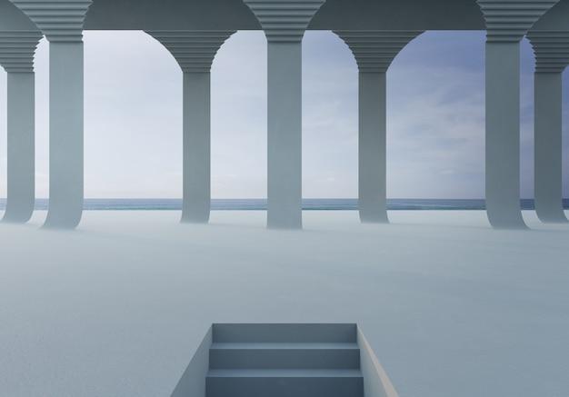 Svuoti il pavimento di calcestruzzo bianco nel parco o nello showroom della città di vista del mare. rappresentazione 3d della fase all'aperto con la spiaggia e il cielo blu