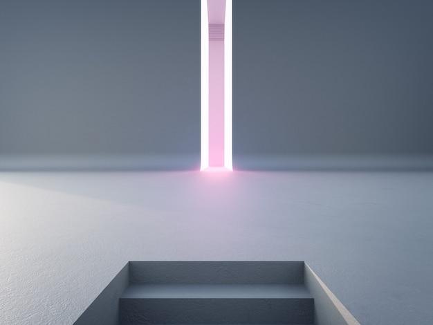 Svuoti il pavimento di calcestruzzo con la parete grigia in corridoio o lo showroom moderno.
