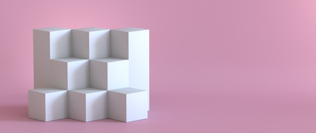 Svuoti il podio bianco sul fondo di rosa pastello. rendering 3d