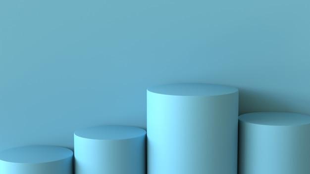 Svuoti il podio blu pastello sul fondo in bianco della parete. rendering 3d.