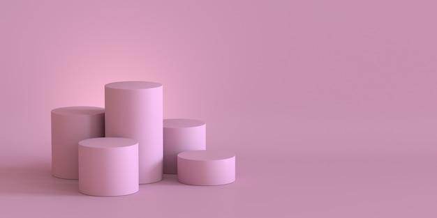 Svuoti il podio di rosa pastello sul fondo in bianco della parete. rendering 3d.