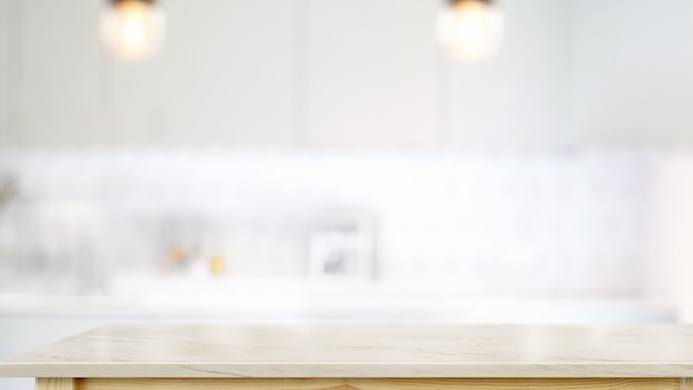 Svuoti il tavolino di marmo bianco nel fondo moderno della stanza della cucina.