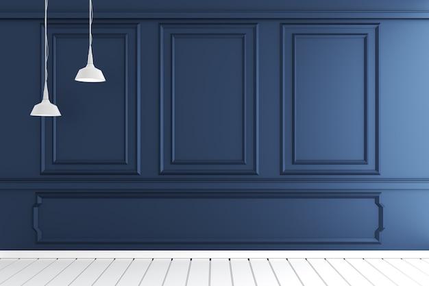 Svuoti l'interiore della stanza di lusso con il disegno del modanatura della parete sul pavimento di legno bianco. rendering 3d