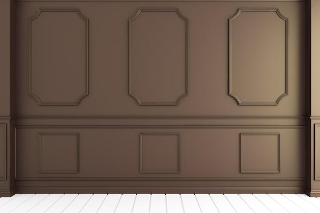 Svuoti l'interiore della stanza di lusso con il disegno del modanatura della parete sul pavimento di legno bianco.
