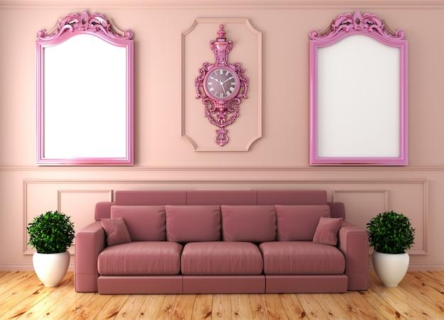 Svuoti l'interiore della stanza di lusso con il sofà rosa nella parete rosa del sofà sul pavimento di legno. rendering 3d