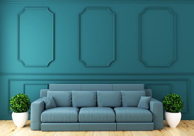 Svuoti l'interiore della stanza di lusso con la parete della menta del sofà nella stanza sul pavimento di legno. rendering 3d