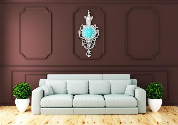 Svuoti l'interiore della stanza di lusso con la parete marrone del sofà nella stanza sul pavimento di legno. rendering 3d