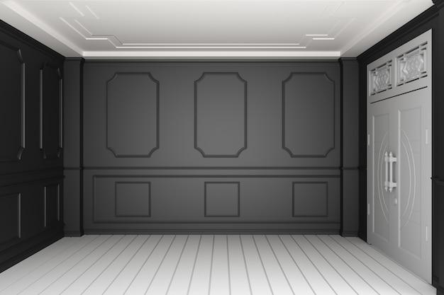 Svuoti l'interiore della stanza di lusso con la parete nera sul pavimento di legno bianco. rendering 3d