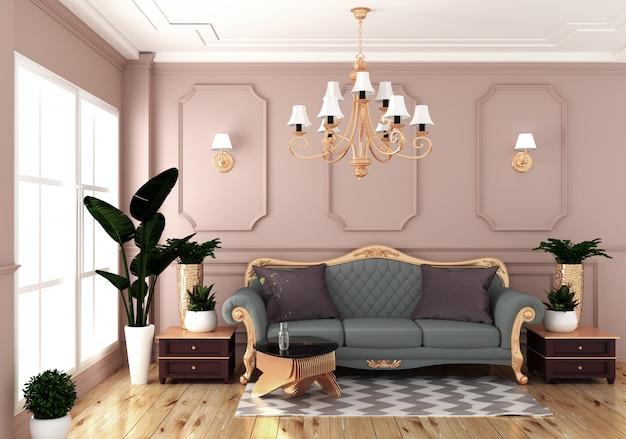 Svuoti l'interiore della stanza di lusso con la parete rosa del sofà nella stanza sul pavimento di legno. rendering 3d