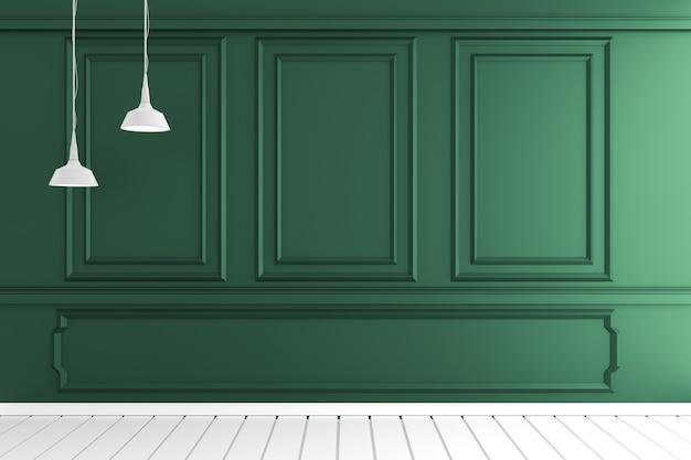 Svuoti l'interiore della stanza di lusso con la parete verde scuro sul pavimento di legno bianco. rendering 3d