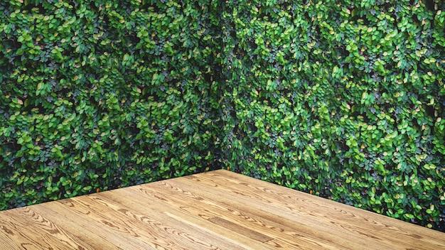 Svuoti la parete delle foglie verdi e il fondo della stanza dello studio dell'angolo del pavimento della plancia di legno
