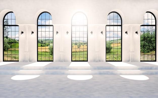 Svuoti la sala classica bianca con le finestre dell'arco e il raggio del sole, rappresentazione 3d