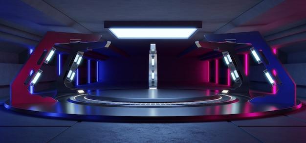Svuoti la stanza blu-chiaro e rosa dello studio interno futuristico con la fase vuota con le luci blu
