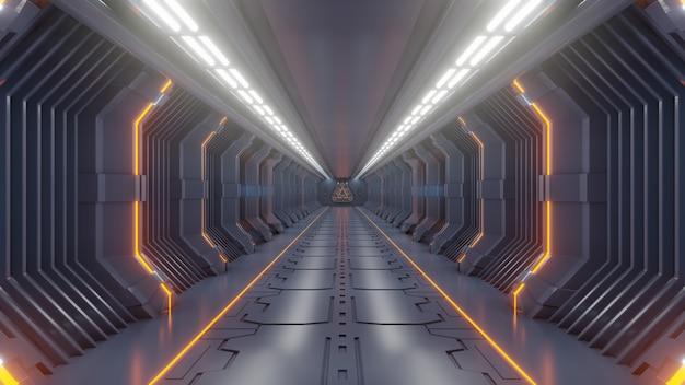 Svuoti la stanza futuristica scura di fantascienza, la luce arancio dei corridoi della nave spaziale