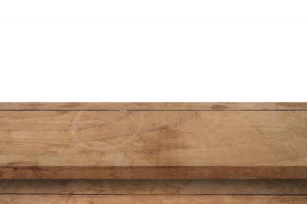 Svuoti la tavola di legno sul fondo bianco dell'isolato e il montaggio dell'esposizione con lo spazio della copia per il prodotto.