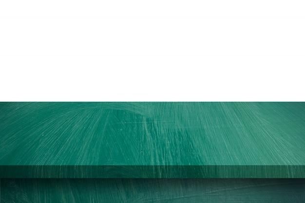 Svuoti la tavola di legno verde sul fondo bianco dell'isolato e sul montaggio dell'esposizione con lo spazio della copia per il prodotto.