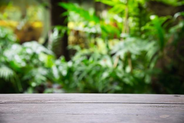 Svuoti lo spazio del pavimento di legno della plancia con le foglie verdi del giardino, spazio di visualizzazione del prodotto con la natura verde fresca