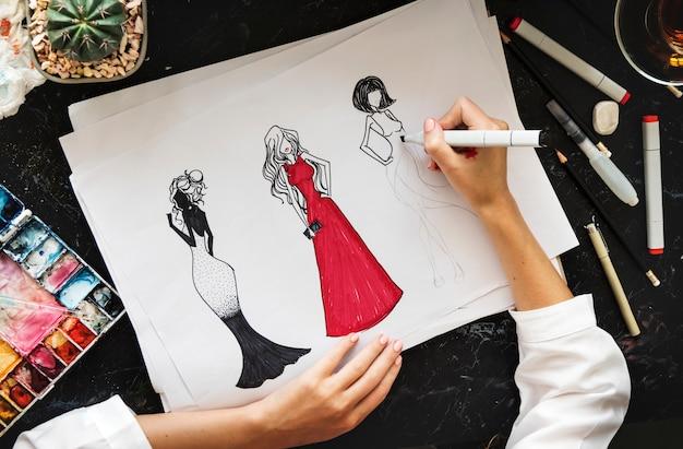 Tabella di marmo nera dell'illustrazione della pittura del disegno